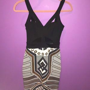 Solemio  Black Geometric Design Dress. OFFERS